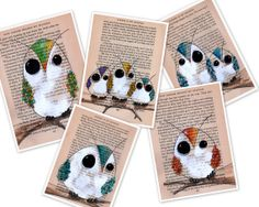 Owls set of four drawings on vintage psychology paper by Cookstah