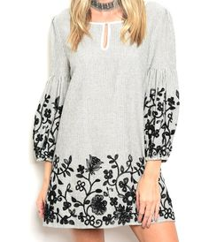 $39+Blouson+Sleeve+Floral+Embroidered+Stripe+Tunic+Dress