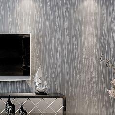 papel de parede listrado glitter papel parede sólida não- tecido quarto sala de casa decoração moderna papel de parede tapete cinza prata US $39.99