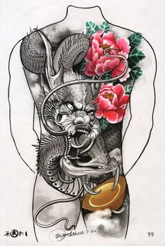 Dragon Tattoo Artist, Dragon Tattoo Designs, Badass Tattoos, Body Art Tattoos, Sleeve Tattoos, Backpiece Tattoo, Irezumi Tattoos, Tattoo Sketches, Tattoo Drawings