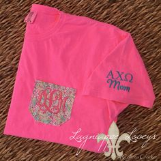 Comfort Colors sorority monogrammed pocket tee for Alpha Chi Omega momma in hot pink and teal by Lagniappe Loveys on Facebook http://www.facebook.com/lagniappeloveys