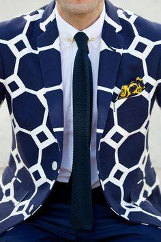 Dapper Male Fashion| Serafini Amelia| Hexagon Print Blazer-Navy& White