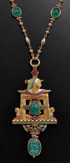 JULES WIESE (1818-1890), Egyptian Revival Pendant Yellow gold, enamel, emeralds, pearls. Paris, circa 1875.