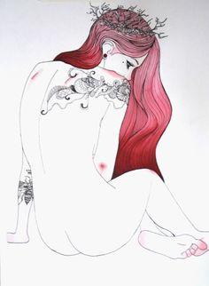 Pink hair leaf crown - Nankin e Aquarela(42 x 29,7cm) VENDIDA