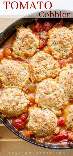 Savory Tomato Cobbler - it's hard to come up with enough superlatives to describe this wonderful, delicious, slightly sweet, savory, rich and absolutely delightful Tomato Cobbler direct from our garden to the table! Vegetable Recipes, Vegetarian Recipes, Cooking Recipes, Veggie Food, Cooking Tips, Vegetable Soups, Skillet Recipes, Vegetarian Dinners, Vegetable Dishes