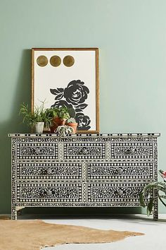 Anthropologie Bone Inlay Three-Drawer Dresser - Products - Home Hanging Furniture, Painted Furniture, Bedroom Furniture, Diy Furniture, Unique Furniture, Dresser Furniture, Furniture Storage, Three Drawer Dresser, Dresser Drawers