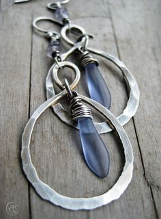 Cindy Pack: Sterling Silver Infinity Hoop. Lavender. Violet. Glass. Stone. #SterlingSilverEarrings #SterlingSilverHoops