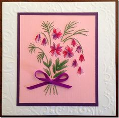 . Paper Embroidery Tutorial, Embroidery Cards, Cross Stitch Embroidery, Iris Paper Folding, Pin Card, Sewing Cards, Card Patterns, Xmas Cards, Flower Cards