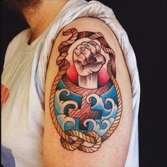 Traditional nautical feminist fist design by @zozobindle