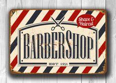 Barber shop Sign Vintage style Aluminum Composite Metal Barber shop Sign, barber…