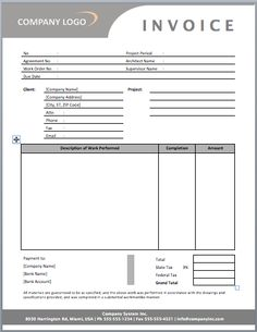 Contractor Invoice Template | Templates&Forms | Pinterest ...
