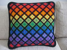 Prism bargello pillow from a vintage pattern.     I'm very proud of this because I bought the kit at a garage sale only to get home and find that it had NO instructions and only half of the yarn. So I improvised.