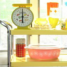Vintage Glass Collection Carafe Creamer Sugar Pyrex ~ Mary Wald's Place - Sunny Kitchen by Mary and Grace. She had a cart just like this in front of her kitchen window. Vintage Kitchenware, Vintage Glassware, Kitchen Utility Cart, Kitchen Cart, Retro Vintage, Vintage Pyrex, Vintage Items, New Kitchen Designs, Glass Collection