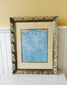 """Vintage Gold Filigree, Ornate 11 X 14"""" Picture Frame, With Matting, Whitewashed, French Country, Hollywood Regency, Wedding Decor"""