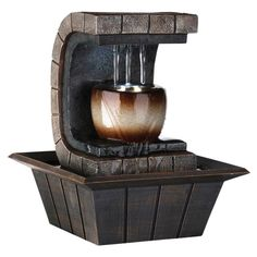 Ore International Earth Tone Meditation Tabletop Fountain with LED Light - K323