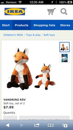 Ikea Vandring Rav Foxes ($8). Ikea Toys, Ikea Nursery, Baby Shower Items, Future Baby, Snoopy, Teddy Bear, Foxes, Fabric, Animals