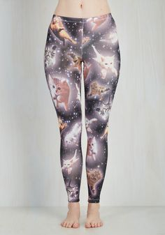 Kitty Constellations Leggings - Skinny, Mid-Rise, Full length, Black, Non-Denim, Knit, Print with Animals, Casual, Quirky, Cats, Cosmic, Critters, Black, Better, Gifts2015, Lounge