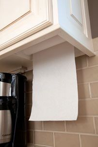 Pretty sure any cheap paper towel holder can be used this way. hidden paper towel holder from MasterDesignCabin. Kitchen Redo, Kitchen And Bath, New Kitchen, Kitchen Remodel, Custom Kitchen Cabinets, Smart Kitchen, Küchen Design, House Design, Kitchen Organization