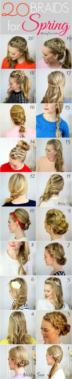 20 braids for spring. My hair isn't even remotely long enough yet (and I don't have the skills to do of these), but a girl can dream! The styles with braids starting under a hair clip are unexpected and really cool. My Hairstyle, Pretty Hairstyles, Girl Hairstyles, Braided Hairstyles, Spring Hairstyles, American Hairstyles, Simple Hairstyles, Love Hair, Gorgeous Hair