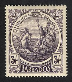 Barbados, 1916 : : Seal of the (British) Colony featuring King George V on his sea-borne chariot. Old Stamps, Rare Stamps, Vintage Stamps, Postage Stamp Design, Commemorative Stamps, Commonwealth, Vintage Lettering, Barbados, Stamp Collecting