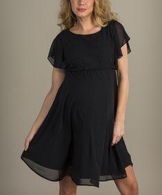 Black Flutter Empire-Waist Maternity Dress