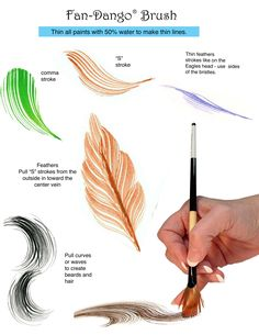 Fan-Dango brush strok examples. I love the feathers! From www.jillybean.net - fandangobrushstrokesheet2.jpg 2,550×3,300 pixels