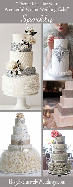 Five Theme Ideas for Your Wonderful Winter Wedding Cake Sparkly Winter Wedding Cake