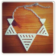 White bunting perler bead necklace by Jannieel
