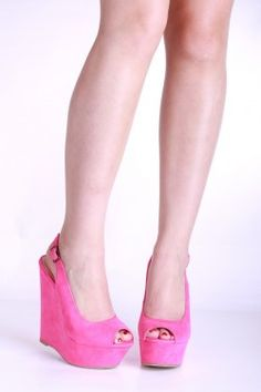 FUCHSIA FAUX SUEDE SLING BACK WEDGES $15.99