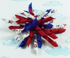 Korker bow 4th of July Red, blue, and flag star korker hair bow