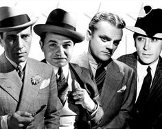 Humphrey Bogart, Edward G. Robinson, James Cagney and George Raft -  Classic Hollywood movie mobsters