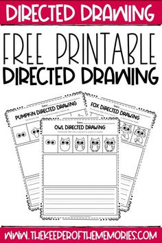 These Free Printable Fall Directed Drawing printables are perfect for developing listening skills and engaging kids in distance learning this year. Download yours today! #fall #printables #directeddrawing #art #writing #copywork #drawing #creativewriting #finemotor #creativethinking #problemsolving Sensory Activities Toddlers, Kids Learning Activities, Learning Letters, Creative Activities, Teaching Kids, Pre Writing, Writing Skills, Writing Prompts, Preschool Printables