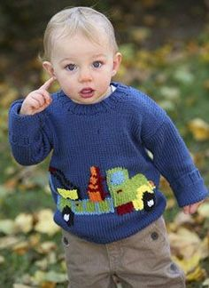 Baby Blue Sweater Knitting pattern by Anna Ravenscroft Baby Boy Knitting Patterns, Knitting For Kids, Baby Patterns, Free Knitting, Knitting Pullover, Baby Pullover, Toddler Sweater, Baby Blue Sweater, Baby Sweaters