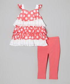 Loving this Pink Polka Dot Tiered Top & Leggings - Infant, Toddler & Girls on #zulily! #zulilyfinds