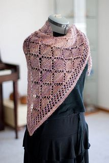 basic lace triangle shawl - designed for beginner with the option of beading.