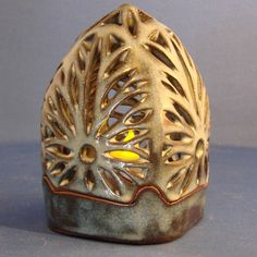 Pottery Luminary wheel thrown carved by SentientPottery on Etsy, $35.00