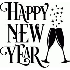 Silhouette Design Store Happy New Year Fancy Champagne