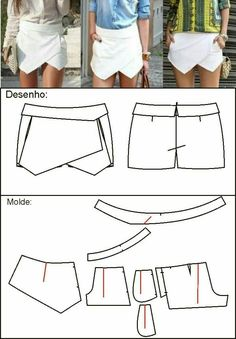 Sewing patterns free shorts costura Ideas for 2019 Sewing Patterns Free, Sewing Tutorials, Clothing Patterns, Dress Patterns, Free Sewing, Free Pattern, Diy Shorts, Sewing Shorts, Diy Clothing