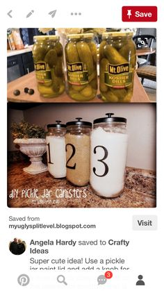 Use a pickle jar paint lid and add a knob for a cute way to store oatmeal on the counter or anything that is used daily. Use a pickle jar paint lid and add a knob for a cute way to store oatmeal on the counter or anything that is used daily. Pot Mason, Mason Jar Crafts, Mason Jars, Mason Jar Kitchen Decor, Diy Kitchen Decor, Mason Jar Storage, Mason Jar Projects, Kitchen Decorations, Canning Jars