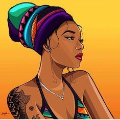 Headscarves are a beautiful accessory, learn how to do them right! Black Love Art, Black Girl Art, Art Girl, Black Art Painting, Black Artwork, Arte Aries, Desenho Pop Art, Arte Black, Trill Art