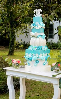 Tiffany-Chanel Inspired Wedding  Cake by cakes by alyanna