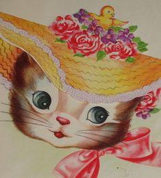 "Vintage Easter greeting card, cute kitten cat wearing a bonnet hat, 5 3/4"" used"
