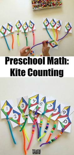 via Preschoolers love to do counting activities. This kite themed preschool math activity is lots of fun for little ones learning to count! They get to add the tails to the kites and count the number Preschool Math- Kite Counting Preschool Learning, Preschool Classroom, Teaching Math, Preschool Crafts, Learning Activities, Letter K Preschool, Preschool Fine Motor Skills, Preschool Centers, Montessori Preschool