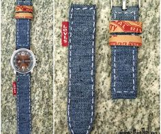 DIY Denim Watch Strap just save your buckle & watch pins  from your old band and your in business.