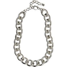 Silver tone chunky curb chain necklace - necklaces - jewelry - women