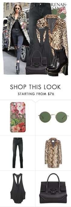 """""""Gigi Hadid"""" by freestrongbird ❤ liked on Polyvore featuring Oris, Gucci, The Row, Ksubi, Velvet, T By Alexander Wang and Versace"""