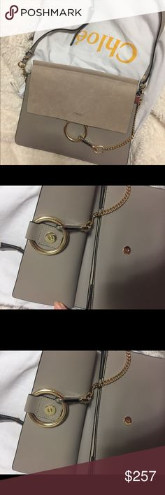 Chloé Faye Medium Leather Suede Shoulder Bag grey Not wore more than 5 times Very good quality, super soft Chloe Bags Shoulder Bags