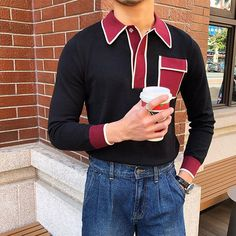 Men's Fashion Color Block POLO Shirt