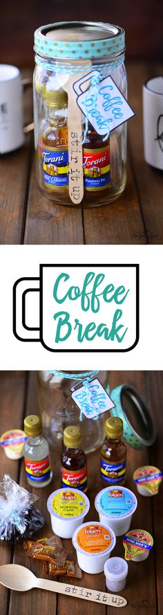 A Coffee Break Mason Jar is filled with everything you need to make a cup of coffee. Give one of these mason jars as a gift along with a couple of cute coffee cups.