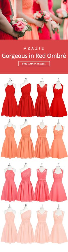 Dress your bridesmaids in a fun red gradient. Wedding tip: Order color swatches to see the colors in our various fabrics for easy wedding planning! | Photos courtesy of ninephotography.com